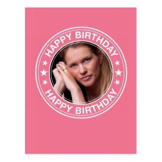 Moldura para retrato do feliz aniversario no rosa cartão postal
