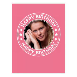 Moldura para retrato do feliz aniversario no rosa cartao postal