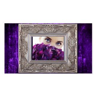 moldura para retrato roxa do grunge, olhos sobre cartão de visita
