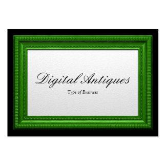 Moldura para retrato verde cartões de visitas