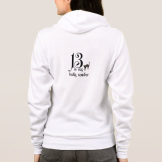 Moletom 13 são meu número afortunado/com gato preto