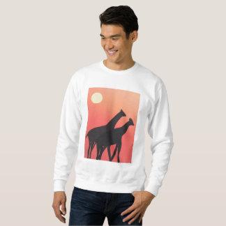 Moletom A camisola branca dos homens com design do girafa
