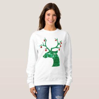 Moletom a camisola das mulheres da rena do Natal do sequin