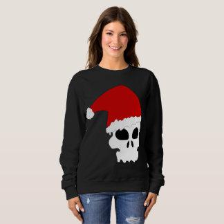 Moletom a camisola das mulheres do Natal do crânio do