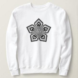 Moletom A camisola das mulheres pretas da mandala #01 da