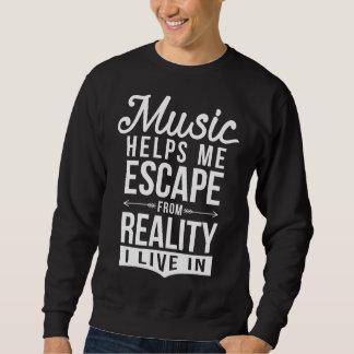 Moletom A música ajuda-me a escapar a camisola