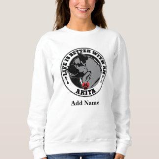 Moletom A vida personalizada é melhor com um cão de Akita