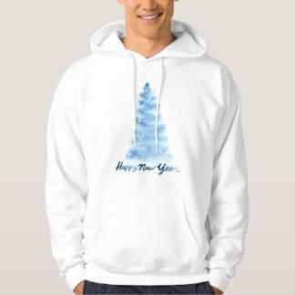 Moletom Aguarela do Natal   - árvore do azul do feliz ano