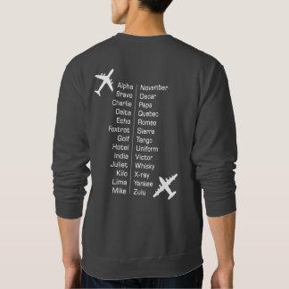 Moletom Alfabeto fonético piloto da linha aérea com aviões