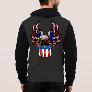 Moletom Americano Eagle, branco & azul vermelhos,