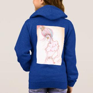 Moletom as meninas azuis fecham acima o hoodie