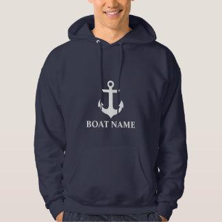 Moletom Azul náutico da âncora do nome do barco
