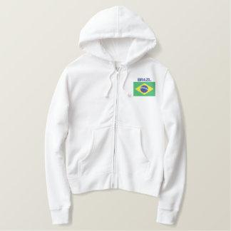 Moletom Bordado Com Capuz Bandeira de Brasil sul - brasileiro americano