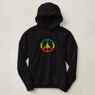 Moletom Bordado Com Capuz Camisa bordada do símbolo de paz de Rasta