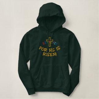Moletom Bordado Com Capuz Cruz cristã design bordado