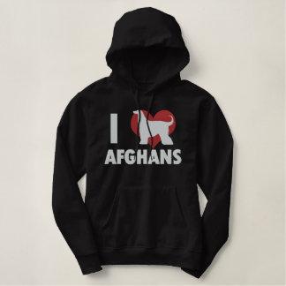 Moletom Bordado Com Capuz Eu amo afegãos