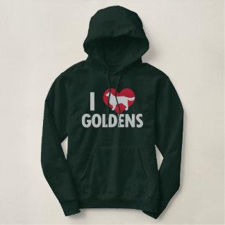 Moletom Bordado Com Capuz Eu amo os ouros escuros