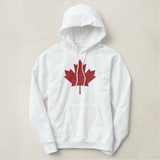 Moletom Bordado Com Capuz Folha de bordo canadense Hoodie bordado