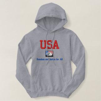 Moletom Bordado Com Capuz Liberdade e justiça dos EUA para toda a camisa de