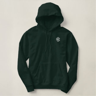 Moletom Bordado Com Capuz Monograma verde escuro do Hoodie do pulôver