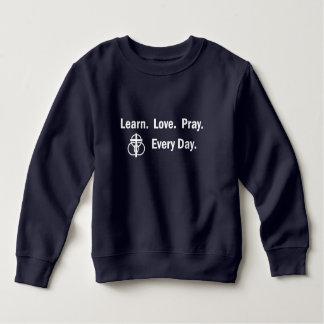 Moletom Camisola da criança: Aprenda que o amor Pray