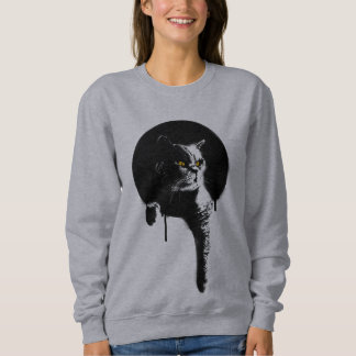 """Moletom Camisola do gato das mulheres: Estêncil """"que"""