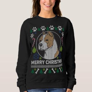 Moletom Camisola feia do Natal da raça do cão de Stafford