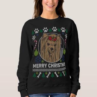 Moletom Camisola feia do Natal da raça do cão de Yorkie