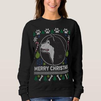 Moletom Camisola feia do Natal da raça do cão do Malamute