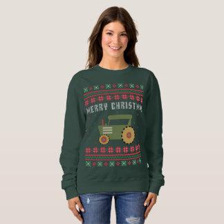 Moletom Camisola feia do Natal do trator de fazenda