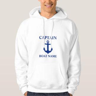 Moletom Capitão náutico Barco Nome Âncora Branco