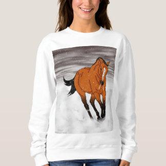 Moletom Cavalo Frolicking do Buckskin na neve