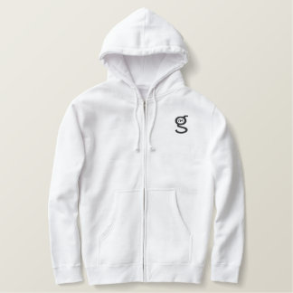 Moletom Com Capuz E Ziper Bordado Logotipo preto de w do Hoodie branco básico do