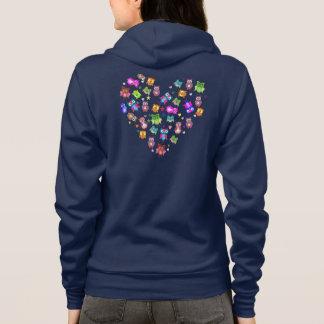 Moletom Coração do amor das corujas do arco-íris