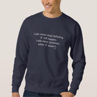 Moletom Cruz nunca masculina da camisola w/Blue da fé
