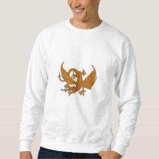 Moletom Desenho de agachamento do dragão agressivo