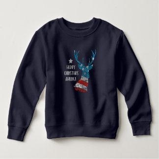 Moletom Feliz Natal América. Bandeira da rena. Afligido