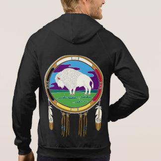 Moletom Hoodie branco do fecho de correr do velo do búfalo