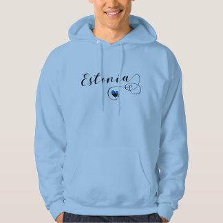 Moletom Hoodie do coração de Estónia, bandeira estónia