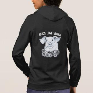 Moletom Hoodie do porco do Vegan do amor da paz