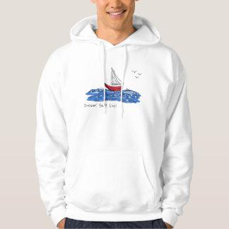 Moletom Hoodie vivo do esboço das gaivotas do barco de mar