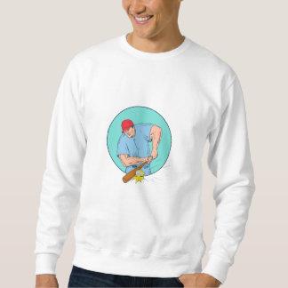 Moletom Jogador de beisebol que bate um desenho de Homerun