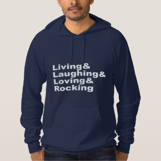 Moletom Living&Laughing&Loving&ROCKING (branco)