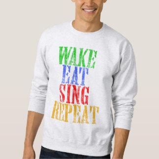 Moletom O acordar come canta a repetição