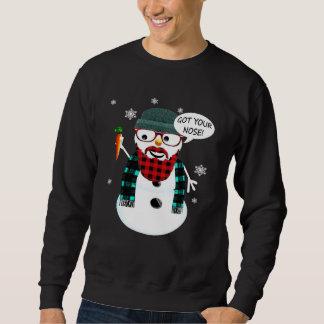 Moletom O boneco de neve do hipster obteve seu nariz