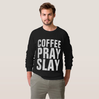 Moletom O CAFÉ PRAY MASSACRA, t-shirt cristãos