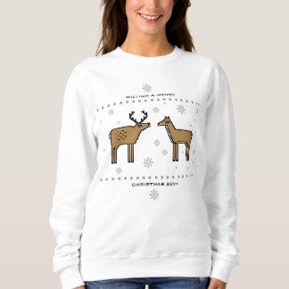 Moletom O casal da rena do Natal adiciona nomes e ano
