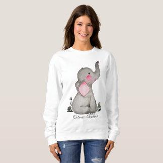 Moletom O elefante bonito do bebê da aguarela com cora &