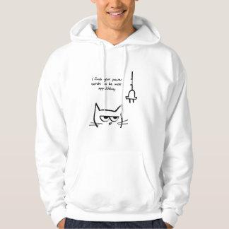 Moletom O gato irritado mastiga acima seus cabos de