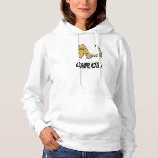 Moletom O hoodie das mulheres do mapa de Cape Cod